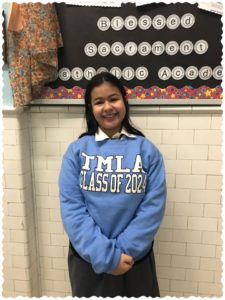 Angelina Concepcion in The Mary Louis Academy sweatshirt