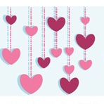 hearts on a string valentine's art